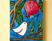 Peace Dove on a Pomegranate Tree, Original Acrylic Painting, Painting on Canvas, 8X10 , Shalom Artwork Blue, Peace Dove with Olive Branch