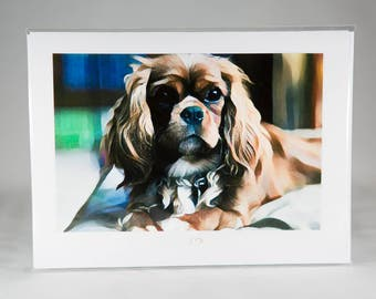 "Cavalier Confidence Photography Card folded 5""x7"" blank inside"