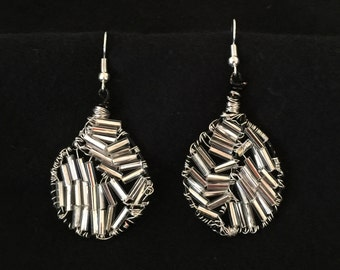 Earrings with Beaded White Glass Beads