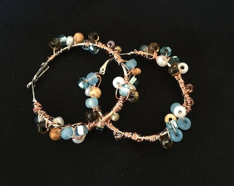 Hoop Earrings with Beaded Accents