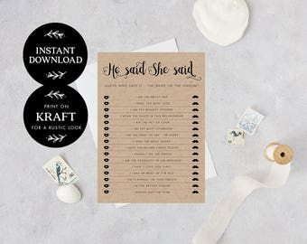 He said she said game printable, INSTANT DOWNLOAD, Printable Wedding Games, Rustic He Said She Said Game, Bride or Groom - Audrey