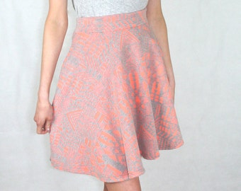 Aztec Skater Skirt Peach and Grey