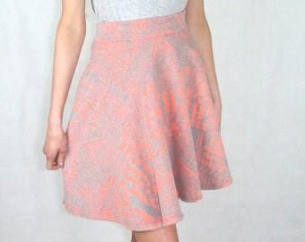Aztec Skater Skirt Peach and Grey