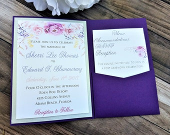 Elegant Royal Purple Floral Wedding Invitation
