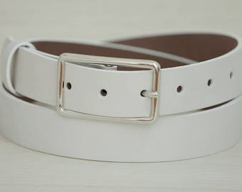 Leather Belt, White Leather Belt, White Womens Belt