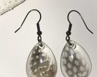 Resin speckled feather earrings