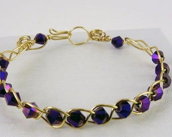 Purple and Gold Wire Wrapped Bracelet