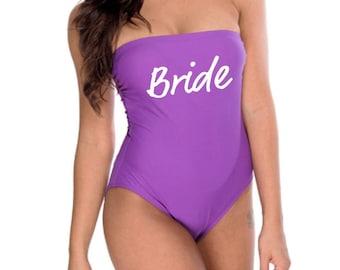 Bride Bathing Suit Bride Bandeau Swimsuit Bach Bathing Suit Bachelorette Swimwear Bride To Be Swimsuit Future Mrs Missy Bathing Suit