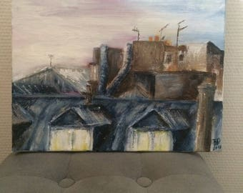 "Canvas, table oil ""Roofs of Paris under the ice in the morning"""