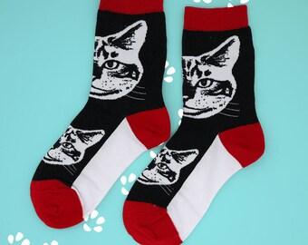 FREE SHIPPING Cat's face women's socks girls' socks black and white socks