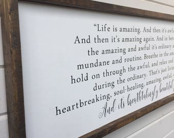 Life is breathtakingly beautiful framed wood sign | Rustic | Farmhouse | Beautiful life | Soul healing | Ordinary life | life quotes