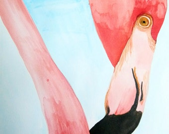Art-print, print, art, illustration, decor, print, animal, cute, watercolour, style forest wall art posters, home, flamingo, beach, summer