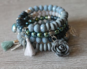 Sea Blue, spiral bracelet blue, green, beige, rose, Crystal beads, wood, tassel
