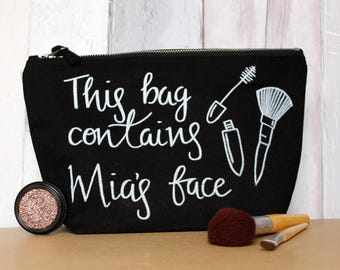 Contains My Face | Cosmetics | Toiletry Storage | Make up Brushes | Personalised | Handwritten | Double Illustration | Make-up Bag