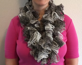 Variegated Silver/White Metallic Handmade Scarf Made in the USA, by hand.