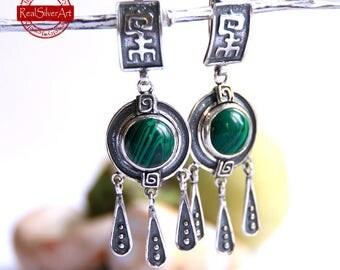Sterling Silver Malachite Earrings / Malachite Earrings/Gemstone Earrings/ Semiprecious Jewelry/ Jewelry for Her