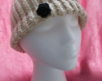Beige handmade knit hat