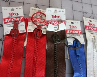 29  Z-3 Talon Vintage Sports zippers New with tags one closed bottom 4 separating