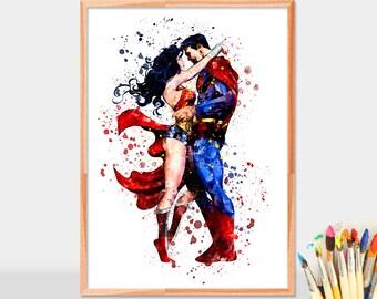 Superman and Superwoman, Superhero, Watercolor, Movie Poster, Watercolor Painting, Superman Art, Watercolor Art, superhero