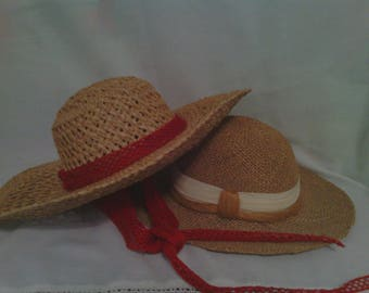 Ladies Vintage Straw Sun Hats Set Of 2