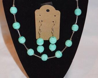 Aquamarine Beaded Jewelry Set