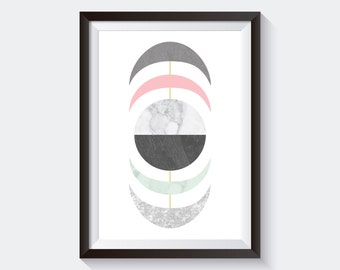 Half Moons Art Print, Printable Large Poster, Digital Download, Mid-Century Modern