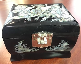 Mother of Pearl Black Laquer Jewelry Box