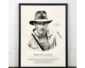 Indiana Jones, Raiders of the Lost ark, INSTANT DOWNLOAD, Printable wall art decor poster, pop art, funny art, 80s, Harrison Ford