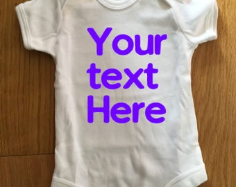 Personalised Baby grow with your own text