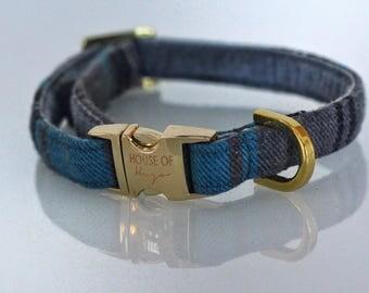 The Jack - Dog Collar, Blue and Grey Tartan