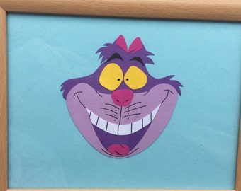 Cheshire Cat from alice in wonderland framed hand paper cut, special wall decor, disney inspired, wall art, unique gift, disney home decor