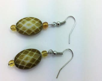 Khaki green acrylic bead earrings #2