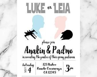 STAR WARS Gender Reveal/ Star Wars/ Luke/ Leia/ Baby/ Invites