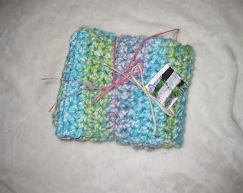 Hand crocheted infinity scarf.