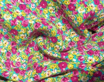 Lemon and Pink Blossom Viscose