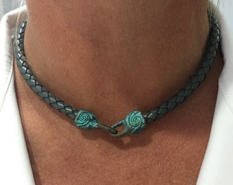 Gray single wrap braided leather choker with mykonos clasp