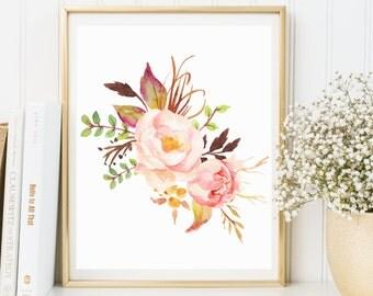 Peony Watercolor Print, Watercolor Wall Art Print, Printable Floral, Watercolor Poster, Home Decor, Printable