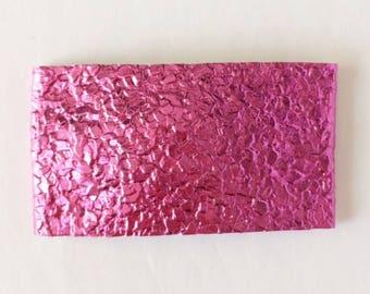 Pink violet faux leather snap clip