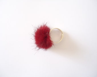 ring pompon red/bordeaux
