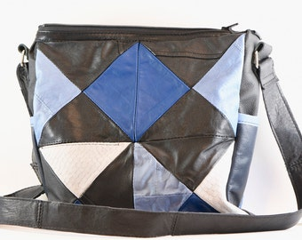 Upcycled leather black, blue and white, messenger style, cross-body bag made from repurposed leather, with silk lining