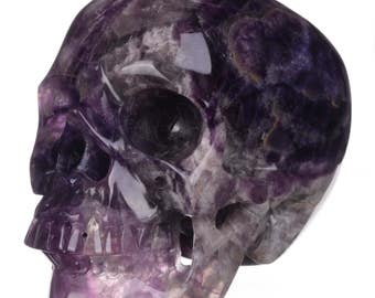 "Sale! 5"" Purple banded Fluorite Crystal Carved Skull"