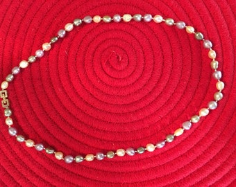 Multi-Color Pearl Necklace with Square Box Clasp