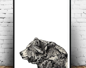 Bear Print Love Illustration Print Ink Drawing Black White Wall Decor Woodland Nursery Art Print Rustic Home Decor black&white illustration