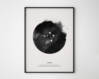 Libra Constellation Print, Constellation Print, Libra Print, Printable Poster, Instant Print Art, Wall Printables, Scandinavian print art