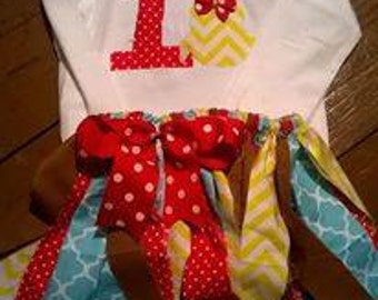 Owl First Birthday shirt and fabric skirt