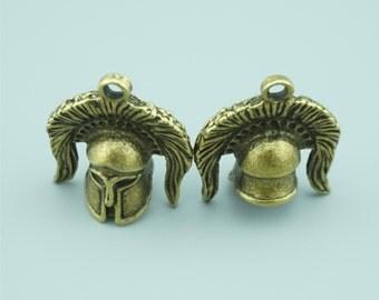 5pcs 34x30x17mm Antique Bronze Helmet Charm Pendants ZD020A