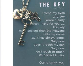 The Key,  Key, necklace,  poem, Poetry jewelry, Key poem, Poet's necklace, Long necklace, Poem necklace, christian jewelry