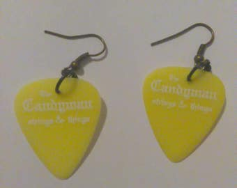 Neon Guitar Pick Drop Earrings
