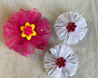 Sheer Ribbon Flower Hair Clip Set