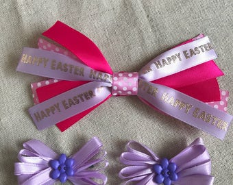 Happy Easter Ribbon Bow Set